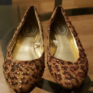 Faux suede leopard rhinestone pointed toe flats